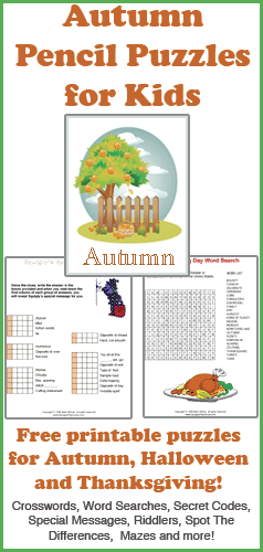 Free printable pencil puzzle to use in the classroom or at home. Word puzzles that celebrate Autumn, Halloween and Thanksgiving. Crosswords, Word Searches, Secret Codes, Special Messages, Mazes and more...