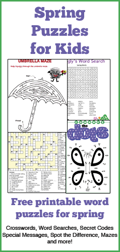 Challenge your child's brain with these fun printable spring puzzles. These word puzzles feature crossword puzzles, word searches and more. Celebrate spring with these fun puzzles.