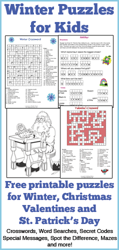 Challenge your child's brain with these fun printable winter puzzles. These word puzzles feature crossword puzzles, word searches and more. Celebrate winter and the holidays of winter including Christmas, Valentines Day and St. Patricks Day.